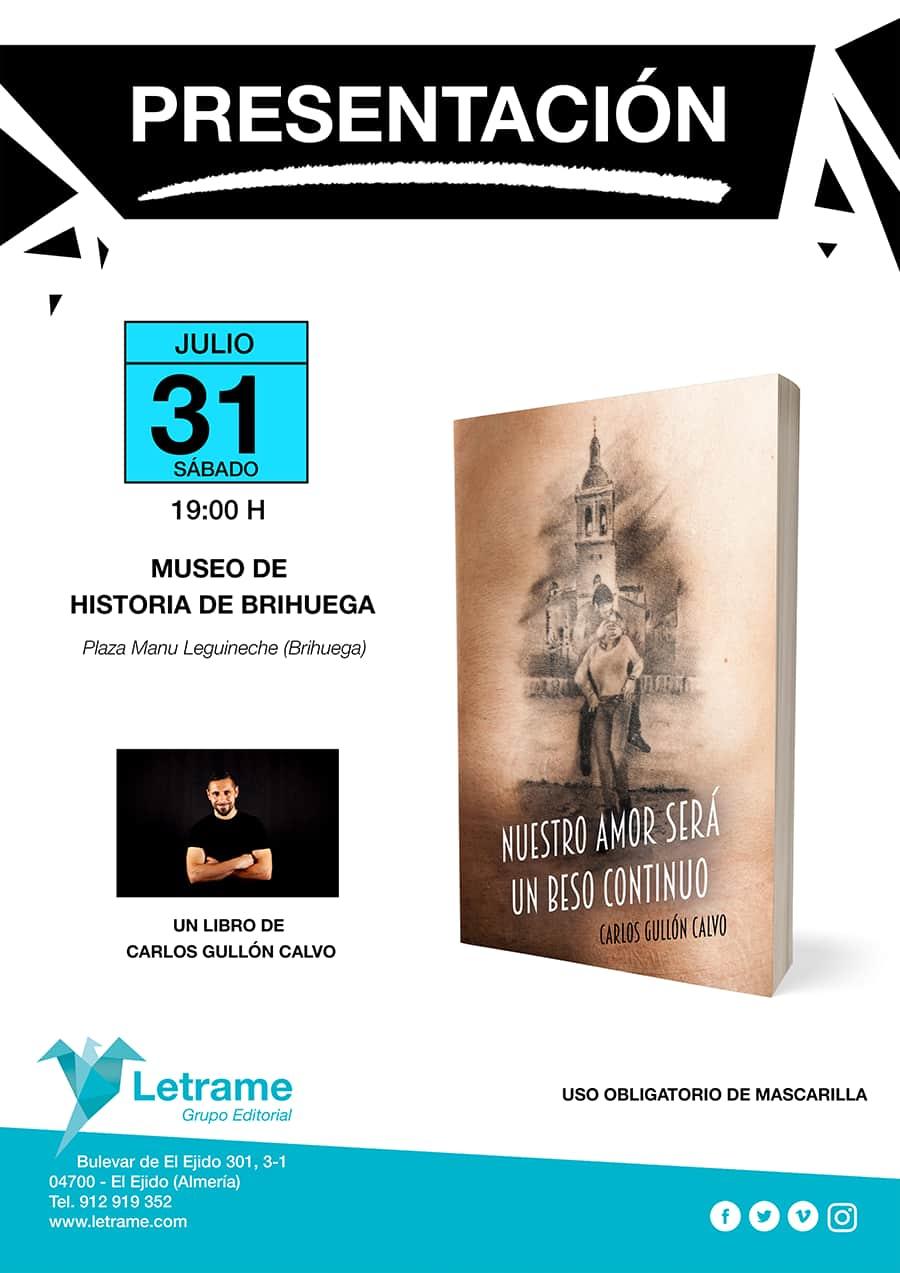 Presentación de la novela Nuestro amor será un beso continuo en el Museo de Historia de Brihuega - Eventos - Carlos Gullón Calvo